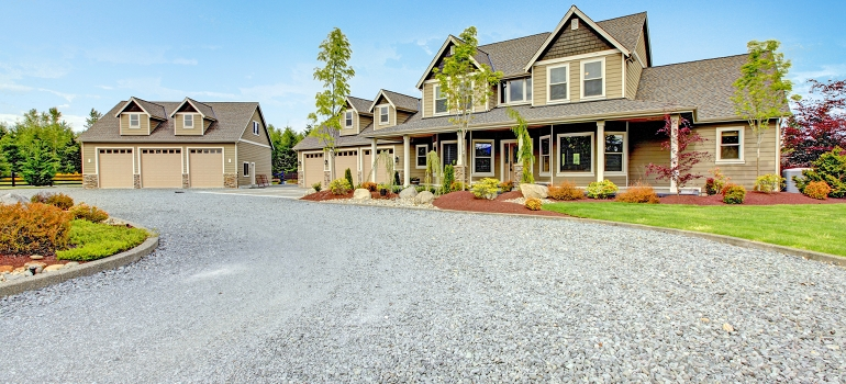 Large Home with Rock Driveway