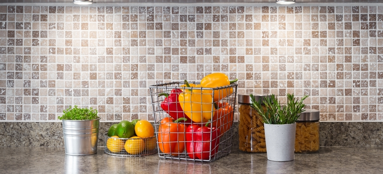 Vegetables on Counter with Tile Backsplash
