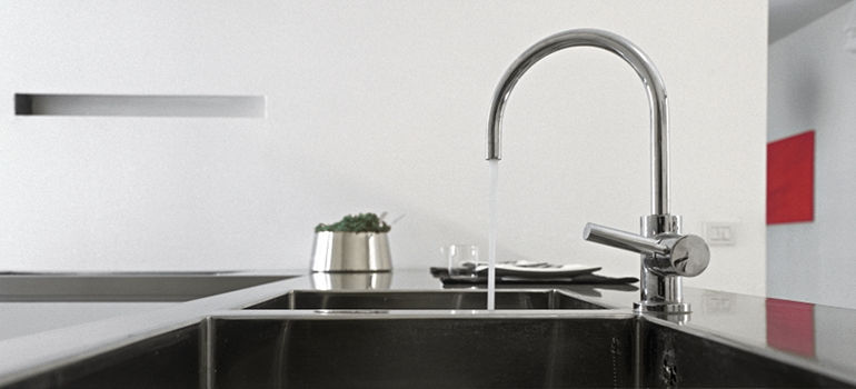 Kitchen Sink with Tall Faucet
