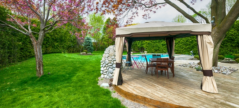 Outdoor Deck with Gazebo and Furniture