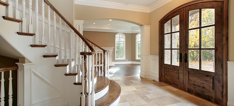 Entryway with Curved Staircase