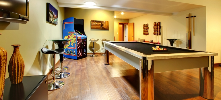 Finished Basement with Pool Table and Games