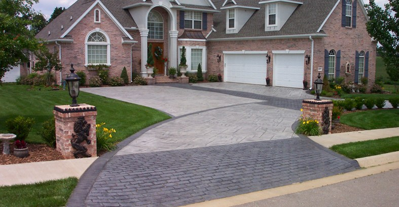 brick and concrete driveway patterned drive concrete pattern - Stamped Concrete Design Ideas