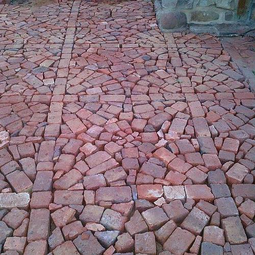 Patio Project Using Broken Brick Pavers