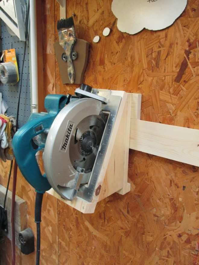 Circular saw hanging on cleat