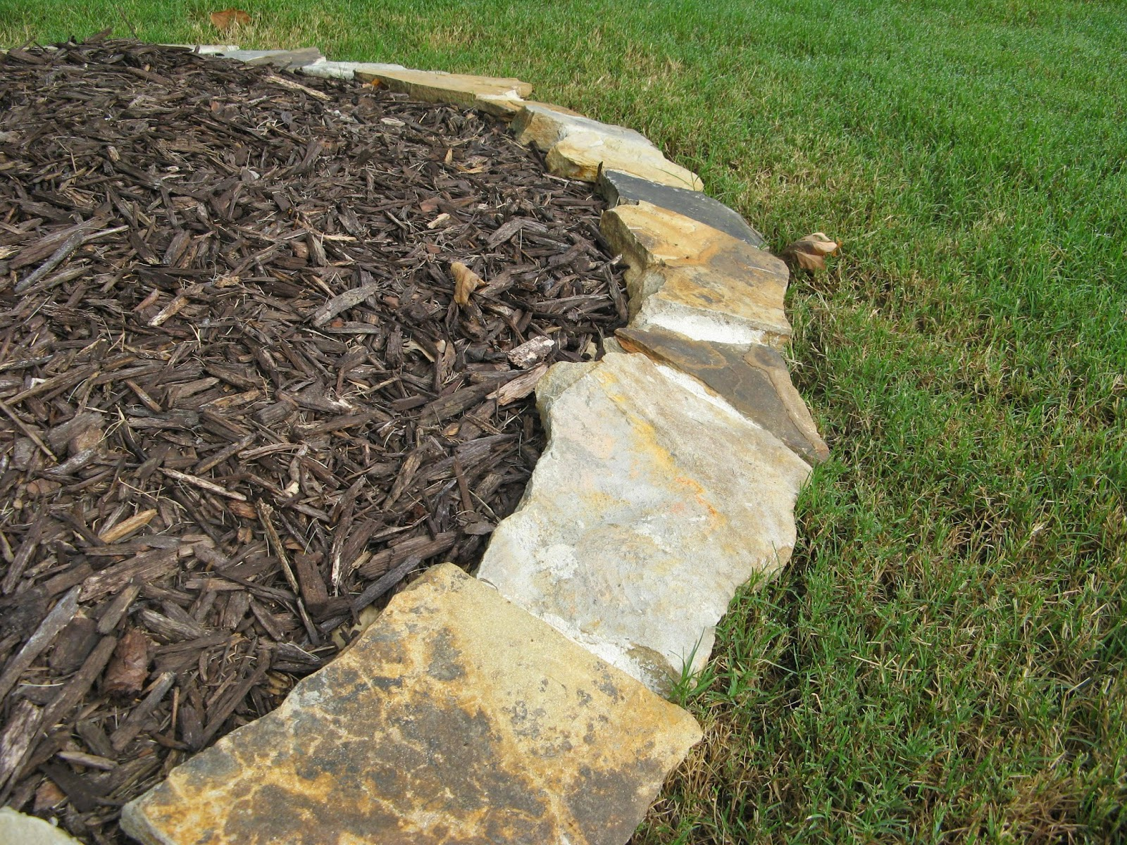 mulch and stone border