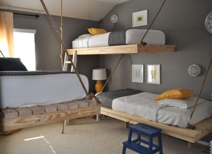 diy floating bunk beds