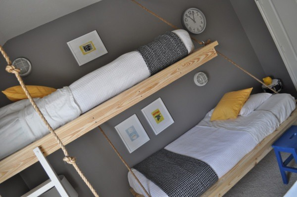 boys floating bunk beds