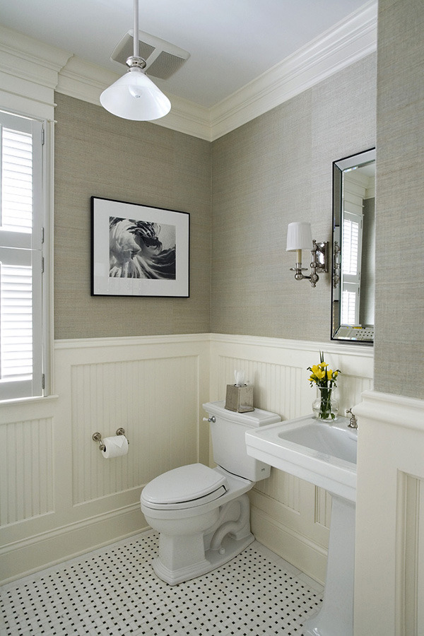 Despite the neutral colors this room is full of texture including the bathroom chair rail molding beadboard panels and gray grasscloth. & Chair Rail Molding Ideas for the Bathroom | RenoCompare