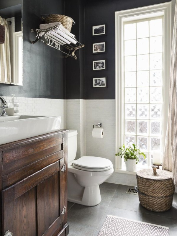 Beautiful Chair Rail In Bathroom Part - 8: Light And Dark ...