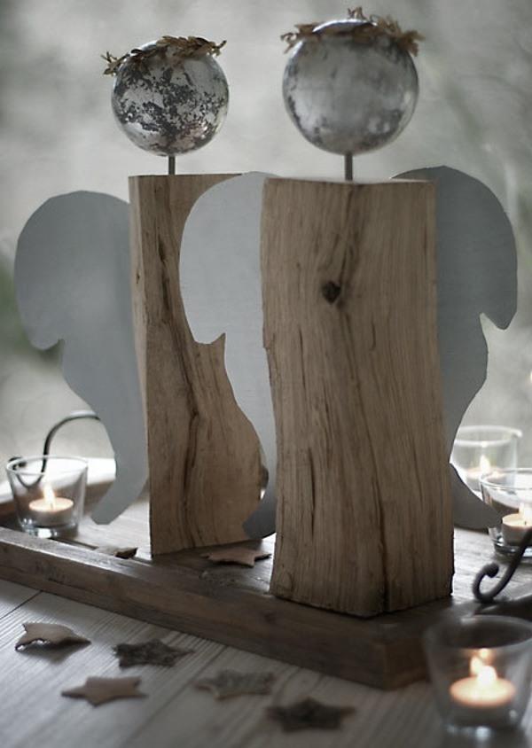 rustic wooden angels