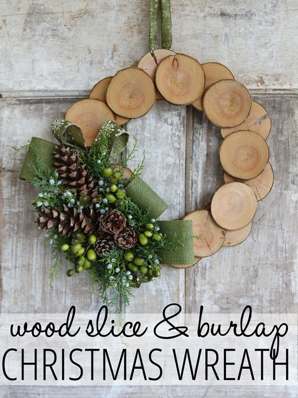 wood slice and burlap wreath wood slice and burlap christmas wreath - Wooden Christmas Decorations