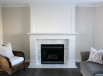 White Fireplace Makeover with Marble Tile Surround