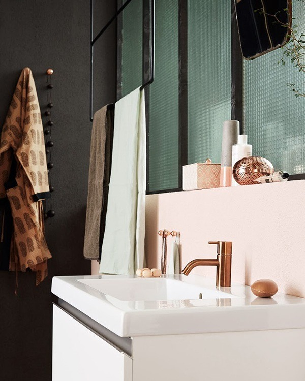 copper faucets and pink