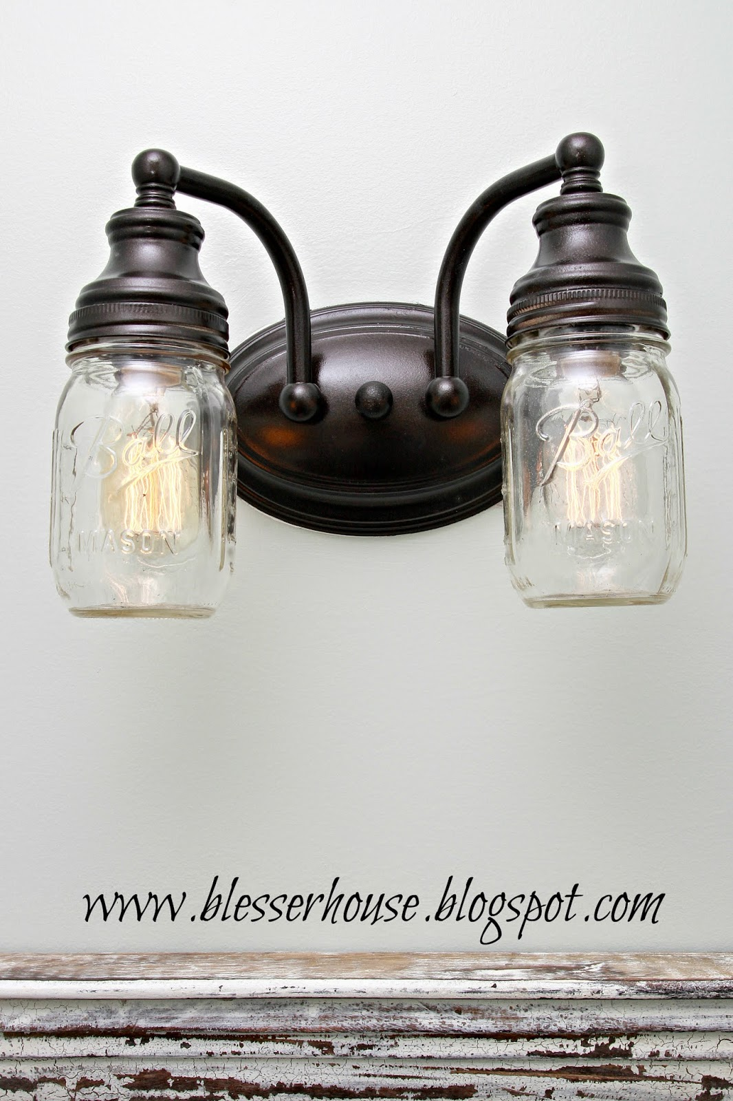 DIY Mason Jar Lights For The Bathroom