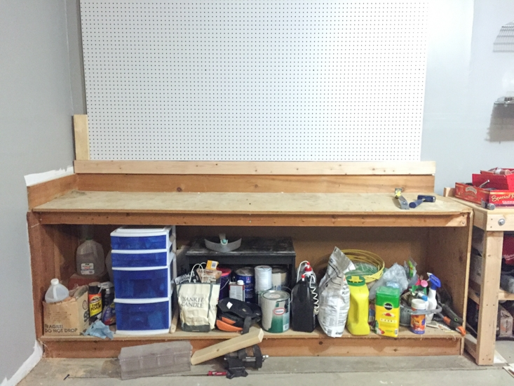 Garage workbench before