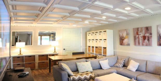 Beautiful basement remodel with recessed ceiling lights